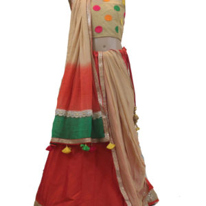 Orange-Beige Lehenga Choli