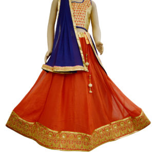 Orange-Golden Lehenga Choli
