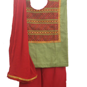 Beige Kurta-Red Botttom