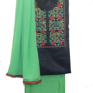 Navy Blue Kurta-Green Bottom