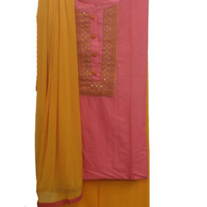Pink Kurta-Yellow Bottom