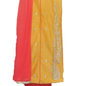 Yellow Kurta-Peach Bottom