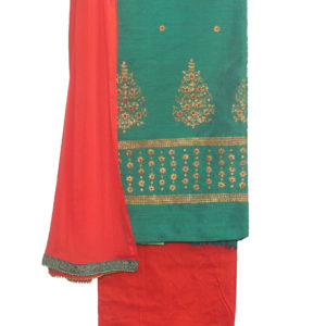 Green Kurta-Red Bottom