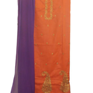 Orange Kurta-Purple Bottom
