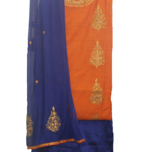 Orange Kurta-Navy Blue Bottom