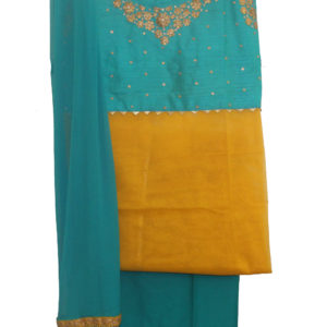 Yellow Kurta-Turquoise Blue Bottom