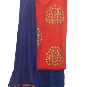 Orange Kurta-Blue Bottom