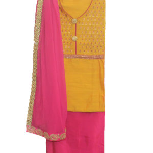 Yellow Kurta-Pink Bottom